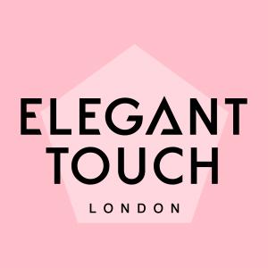 Elegant Touch London Logo schwarz auf rosa Hintergrund