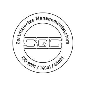 Logo SQS Qualitätsmanagement_ISO 9001, ISO 14001, ISO 45001, bei Trisa Gruppe, freigestellt.