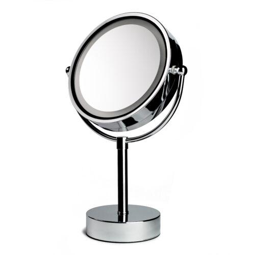 Ein edler LED-Spiegel von Trisa Accessoires in silber vor weissem Hintergrund.